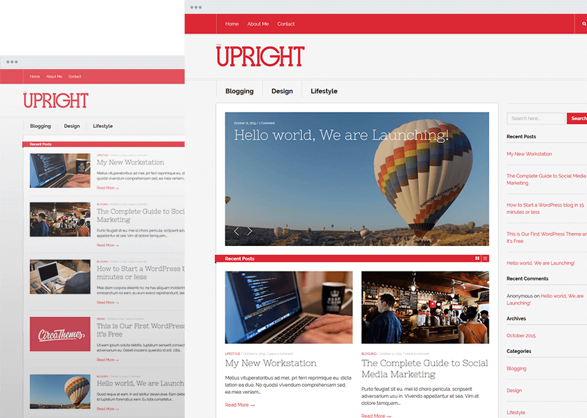 Upright Best free wordPress themes for  blogs